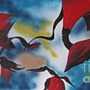 Triphids In Red Poster by Barbara Petersen