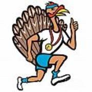 Turkey Run Runner Thumb Up Cartoon Poster by Aloysius Patrimonio