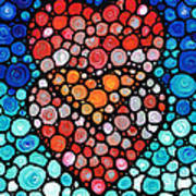 Two Hearts - Mosaic Art By Sharon Cummings Poster by Sharon Cummings