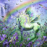 Unicorn Of The Butterflies Poster by Carol Cavalaris