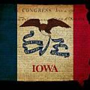 Usa American Iowa State Map Outline With Grunge Effect Flag And  Poster by Matthew Gibson