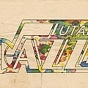 Utah Jazz Retro Poster Poster by Florian Rodarte