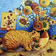 Van Gogh's Bad Cat Poster by Eve Riser Roberts