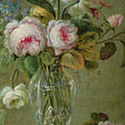 Vase Of Flowers On A Table Poster by Michel Bellange