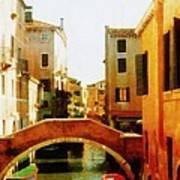 Venice Italy Canal With Boats And Laundry Poster by Michelle Calkins