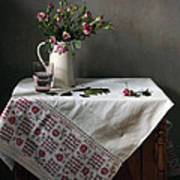 Victorian Style Still Life With Pink Roses Poster by Helen Tatulyan