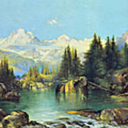 View Of The Rocky Mountains Poster by Susan Leggett