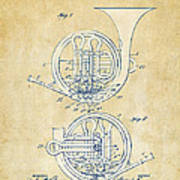 Vintage 1914 French Horn Patent Artwork Poster by Nikki Marie Smith