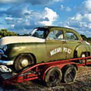 Vintage American Military Police Car Poster by Kathy Fornal