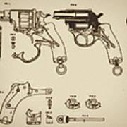 Vintage Colt Revolver Drawing Poster by Nenad Cerovic