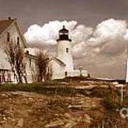 Vintage Pemaquid Point Lighthose Poster by Skip Willits