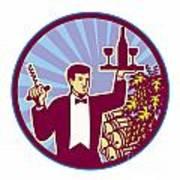 Waiter Serving Wine Glass Bottle Retro Poster by Aloysius Patrimonio