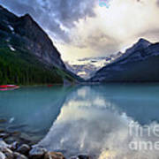 Waiting For Sunrise At Lake Louise Poster by Teresa Zieba
