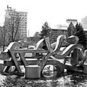 Water Sculpture In Spokane Poster by Carol Groenen