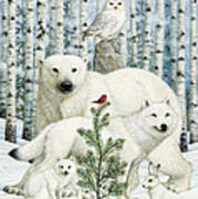 White Animals Red Bird Poster by Lynn Bywaters