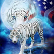 White Tiger Moon - Patriotic Poster by Carol Cavalaris