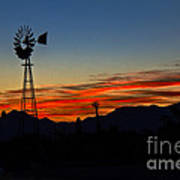 Windmill Silhouette Poster by Robert Bales
