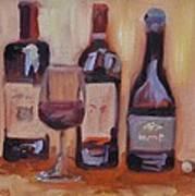 Wine Bottle Trio Poster by Donna Tuten