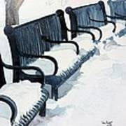 Winter Benches Poster by Tom Riggs