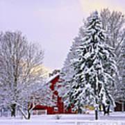 Winter Farm Scene Poster by Timothy Flanigan