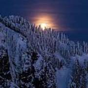 Winter Mountain Moonrise Poster by Mike Reid