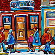 Winter Street In Saint Henri Poster by Carole Spandau