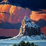 Winter Sunset Over Shiprock Poster by Randy Follis