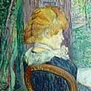 Woman Sitting In A Garden Poster by Henri de Toulouse-lautrec