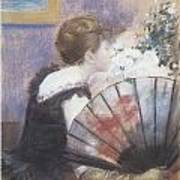 Woman Smelling Flowers Poster by Jean-Louis Forain