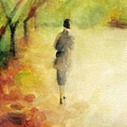Woman Walking Autumn Landscape Watercolor Painting Poster by Beverly Brown Prints