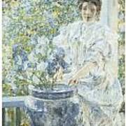 Woman With A Vase Of Irises Poster by Robert Reid