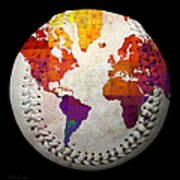 World Map - Rainbow Bliss Baseball Square Poster by Andee Design