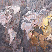 World Map On Stone Background Poster by Michael Tompsett