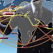 World Shipping Routes Map Poster by Atiketta Sangasaeng