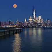 World Trade Center Super Moon Poster by Susan Candelario