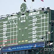 Wrigley Field Scoreboard Sign Poster by Paul Velgos