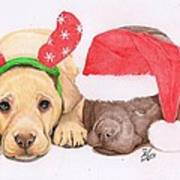 Xmas Pups Poster by Deborah Nicholas