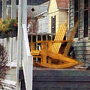 Yellow Adirondack Rocking Chairs Poster by Susan Savad