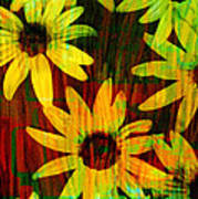 Yellow And Green Daisy Design Poster by Ann Powell