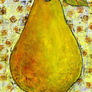 Yellow Pear On Squares Poster by Blenda Studio