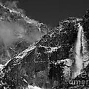 Yosemite Falls In Black And White Poster by Bill Gallagher