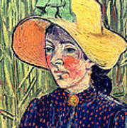 Young Peasant Girl In A Straw Hat Sitting In Front Of A Wheatfield Poster by Vincent van Gogh