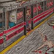 Zombies On The Red Line Poster by Richie Montgomery