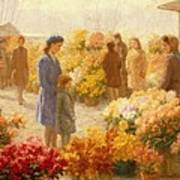 Flower Market  Poster by Hendrik Heyligers