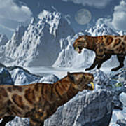 A Pair Of Sabre-toothed Tigers Poster by Mark Stevenson