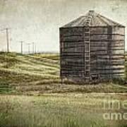 Abandoned Wood Grain Storage Bin In Saskatchewan Poster by Sandra Cunningham