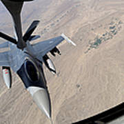 An F-16 Fighting Falcon Receives Fuel Poster by Stocktrek Images