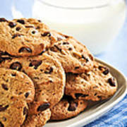 Chocolate Chip Cookies And Milk Poster by Elena Elisseeva