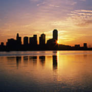 Dallas Skyline At Dawn Poster by Jeremy Woodhouse