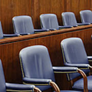 Empty Jury Seats In Courtroom Poster by Jeremy Woodhouse